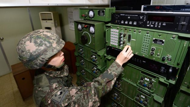 A South Korean soldier operates the loudspeakers (file image)