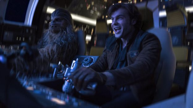 Alden Ehrenreich with Chewbacca (Joonas Suotamo) in Solo: A Star Wars Story