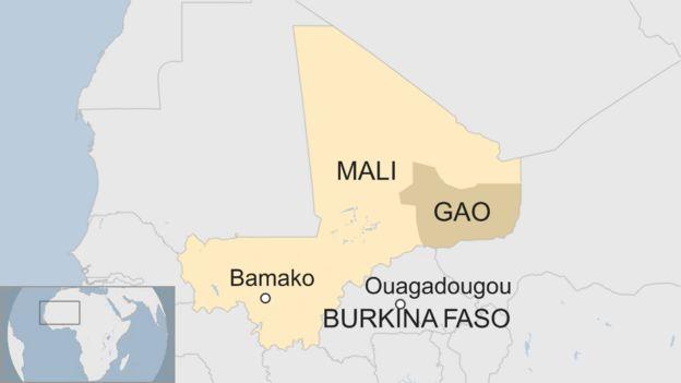 A map showing the region Macron is visiting in Mali