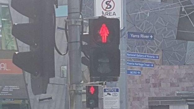 Female pedestrian sign in Melbourne, Australia