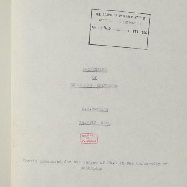 Página de apresentação da tese de Hawking