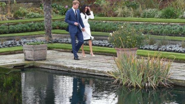 哈里王子與馬克爾在肯辛頓宮的低地花園(Sunken Garden)於媒體見面。