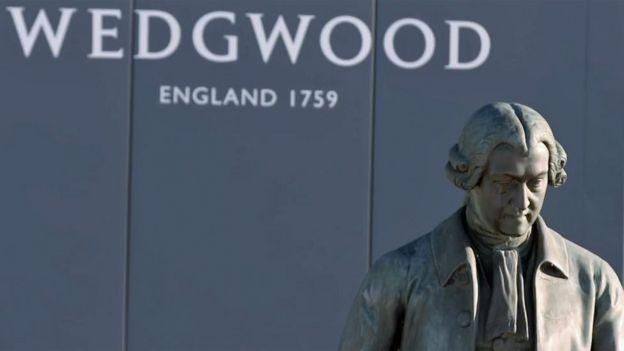 back of Josiah Wedgwood with name behind