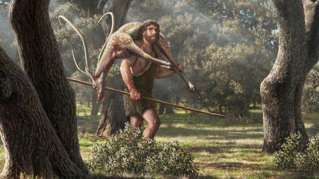 Avını götüren Neandertal