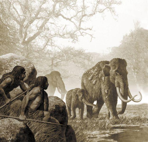 Neandertales cazando mamuts