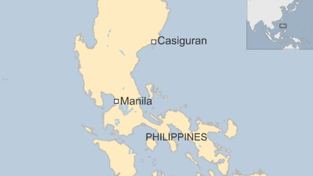A map showing Casiguran in the Philippines, where Typhoon Koppu landed