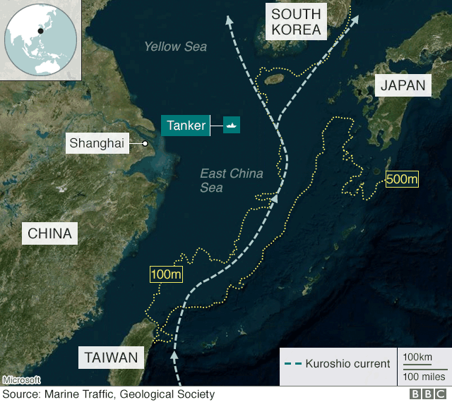 Map shows route of tanker through East China Sea