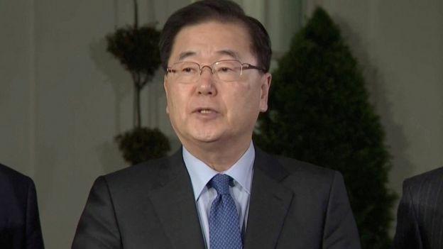 Заявление было доставлено в Вашингтон советником по национальной безопасности Южной Кореи, который встречался с Ким Чен Ыном в начале этой недели