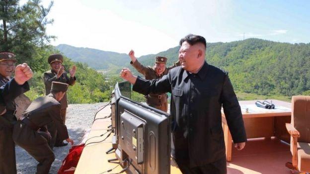 Kim Jong-un celebrando