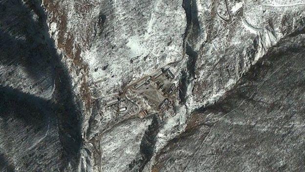 Imagen satelital del sitio de pruebas nucleares de Punggye-ni, en Corea del Norte (Febrero 2013)
