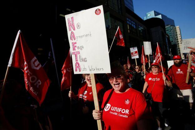Protesta en Canadá por el TLCAN.