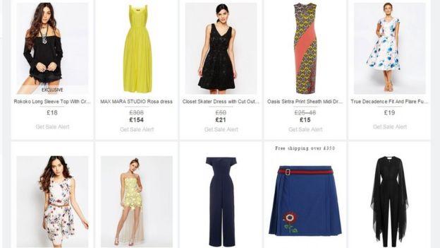 Muestrario en línea de prendas de vestir