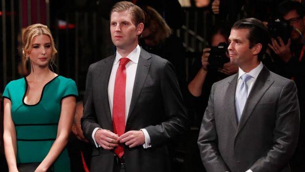 Ivanka, Eric y Donald Trump.