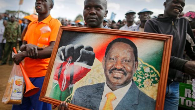 Supporters of the Orange Democratic Movement (ODM) led by Raila Odinga listen as he delivers a speech during a rally held in Nairobi, 7 July 2017.