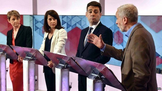 Yvette Cooper, Liz Kendall, Andy Burnham and Jeremy Corbyn