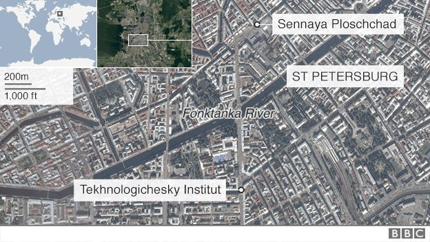 Map showing location of St Petersburg blast - 3 April 2017