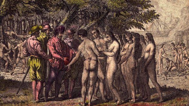 Cortés hablando con indígenas