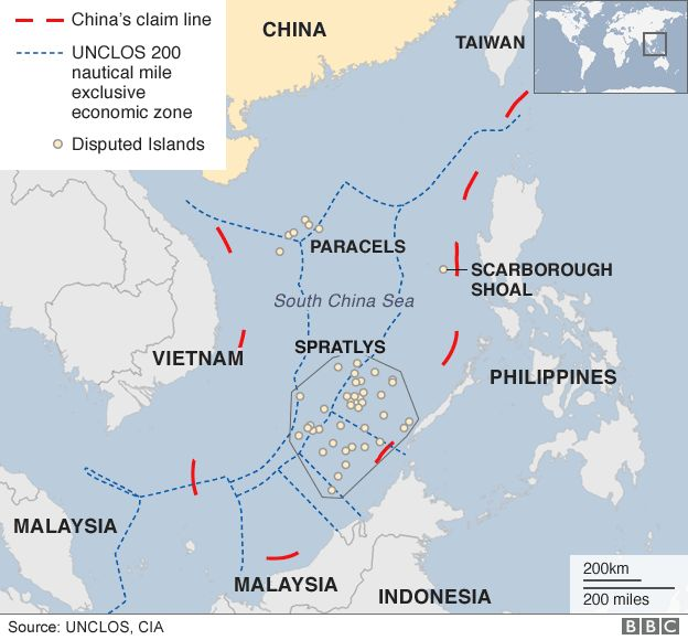 China Hits Back At US Over South China Sea Claims BBC News - Us map in chinese