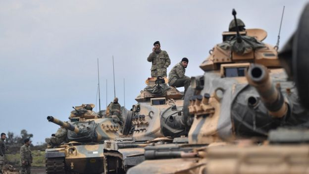 Turkish troops at Syrian border, 21 Jan 18