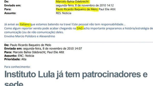 Troca de mensagens entre Marcelo Odebrecht e Paulo Baqueiro de Melo