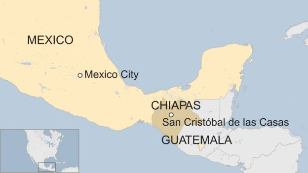 Map of southern Mexico, showing Chiapas state