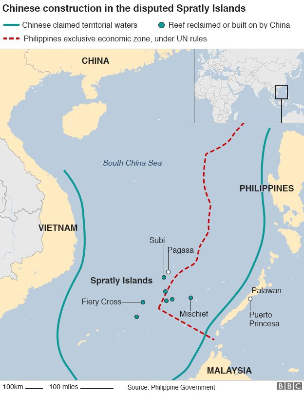 South China Sea US Warship Sails Near Disputed Reef BBC News - Us map in chinese