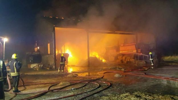 Some 60 tonnes of hay were set alight by an electrical fault