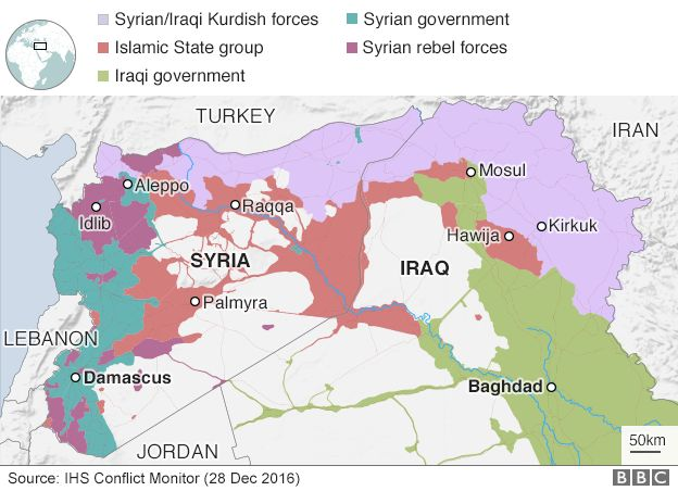 Map showing control of Syria and Iraq (28 December 2016)