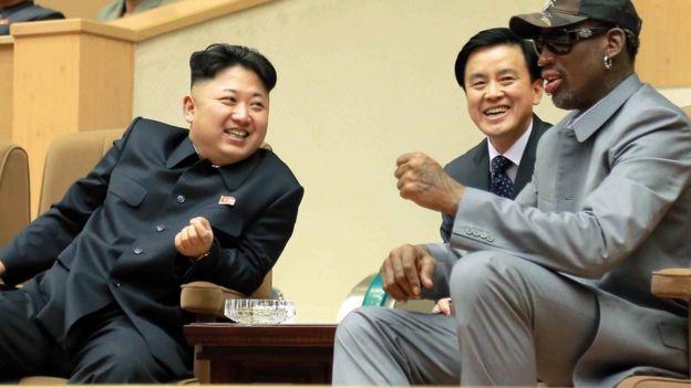 Kim Jong-un and Dennis Rodman in Pyongyang, January 2014