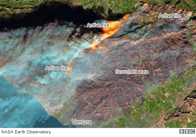 Satelliteimage showing wildfires in California scorching earth towards the coast