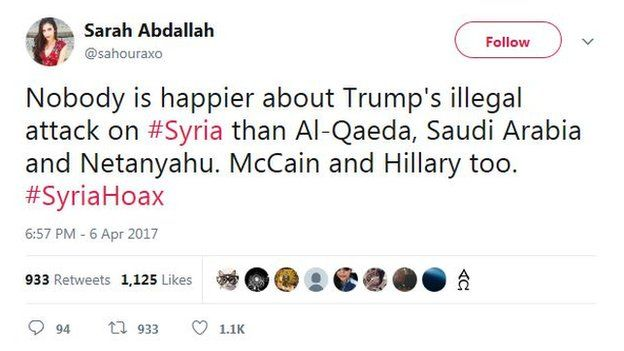 "Tweet by @sahouraxo: ""Nobody is happier about Trump's illegal attack on #Syria than Al-Qaeda, Saudi Arabia and Netanyahu. McCain and Hillary too. #SyriaHoax"""