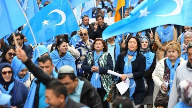 مسيرة للأيغوريون في بركسل أبريل/نيسان 2018