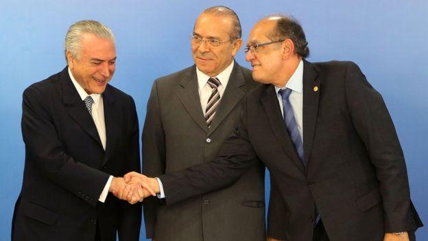 Michel Temer, Eliseu Padilha e Gilmar Mendes