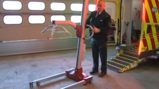 Hoist on a bariatric ambulance