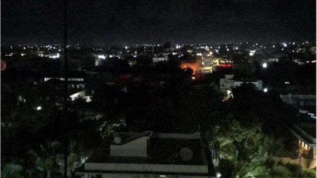 An explosion is seen at the Pizza House restaurant in Mogadishu, Somalia, June 14, 2017, in this picture obtained from social media.