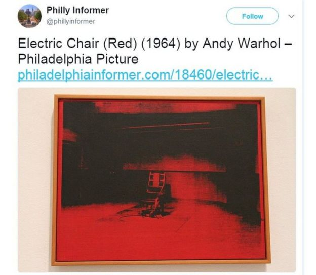 Screen grab of a tweet shows Andy Warhol's Electric Chair painting