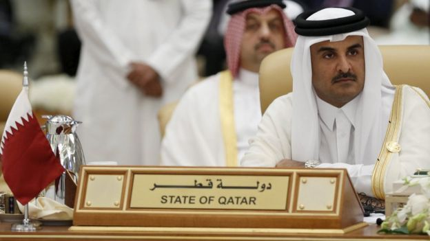 Qatar's Emir Sheikh Tamim bin Hamad Al Thani at a summit in Riyadh on 11 November 2015