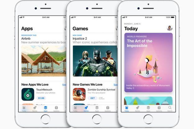 Tres modelos de iPhone con la nueva Appstore