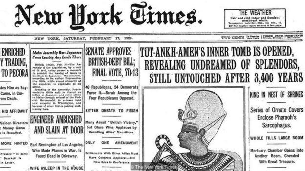 New York Times'da Tutankamun mezarı haberi