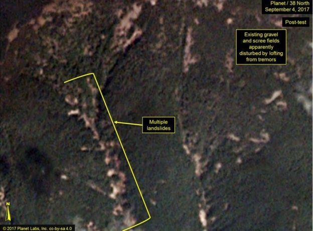 Hình ảnh dãy núi sau chụp lại hôm 4/9 cho thấy có nhiều sự sạt lở
