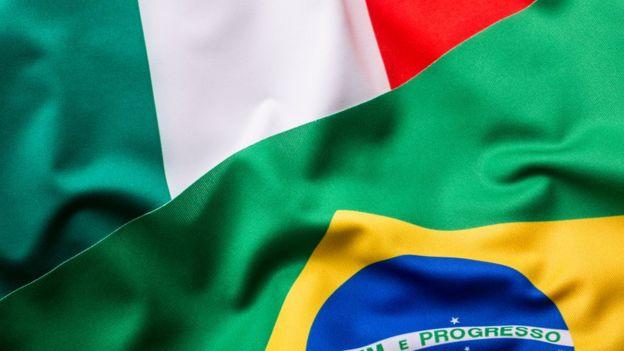 Bandeiras da Itália e do Brasil