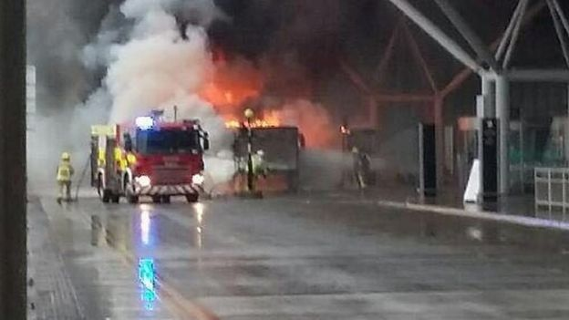 Firefighters tackle bus blaze