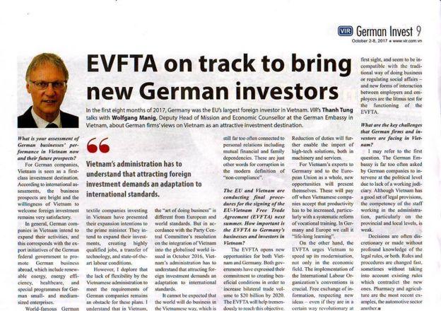 Ảnh chụp toàn văn bài phỏng vấn ông Phó Đại sứ Đức được đăng trên Vietnam Investment Review hôm 9/10