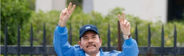 Nicaragua's President Daniel Ortega gestures during the celebrations to mark the 37th anniversary of the Sandinista Revolution in Managua, Nicaragua July 19, 2016.