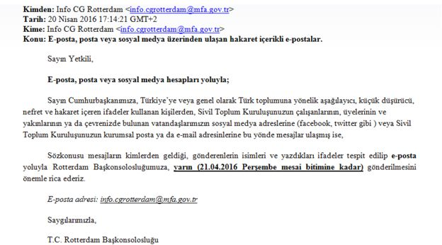 Email sent by Turkish