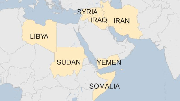 Trumps Executive Order Who Does Travel Ban Affect BBC News - Trump hair us map