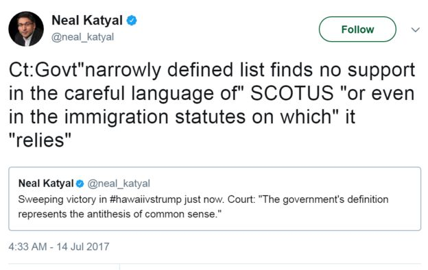 Tweet from @neal_katyal: Sweeping victory in #hawaiivstrump just now. Court: