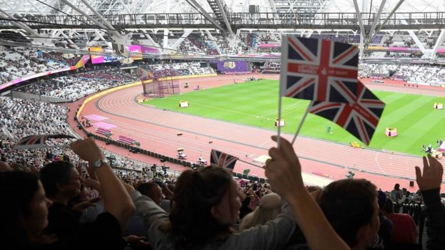 Scenes at stadium in World Athletics Championship in London 2017