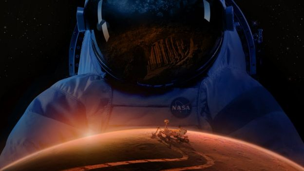 Ilustración que muestra un astronauta en Marte