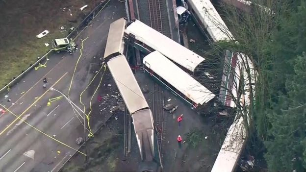 Aerial image showing derailed train carriages